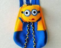 Minion Crochet Backpack birthday gift, christmas gift,baby shower perfect to  any childern.