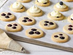 Blueberry Shortbread Cookies with Lemon Frosting by A Spicy Perspective