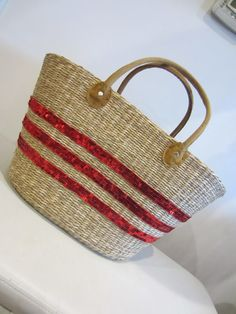 Embroidered Seagrass Beach Tote