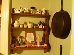 Dining room shelf...chickens, kitchen gadgets and more