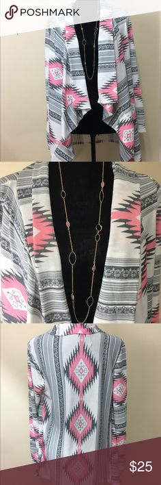 "Aztec Tribal Print Open Cardigan Top Super cute flowy lightweight Cardigan. Size M. Boutique brand. Worn once to an event. Like new condition. Measurements : length ( collar to hem) 29"", armpit to armpit 18.5"" Sweaters Cardigans"