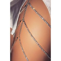 Silver Rhinestone Decor Layered Sexy Thigh Chain ($11) ❤ liked on Polyvore featuring jewelry, silver, rhinestone jewelry, layered jewelry, silver jewellery, sexy jewelry and silver rhinestone jewelry