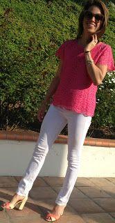 white jeans, hot pink lace, nude heels, neon heels, nude and neon heels
