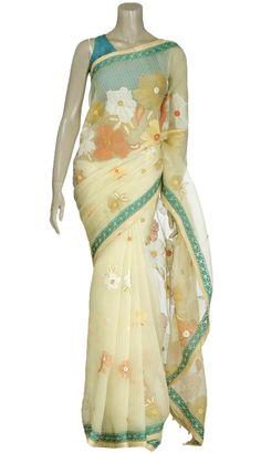 Pastel Yellow Nakshi Kantha Embroidered Muslin Saree