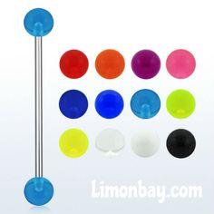 Barbell para piercing industrial de acero quirúrgico con bolas de 5 mm UV (brillan en la oscuridad con luz ultravioleta). Grosor 1,6mm. 35mm de largo., 1.37