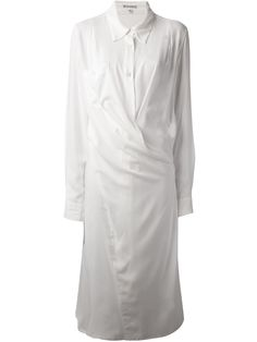 Ann Demeulemeester Wrapstyle Shirt Dress in White | Lyst