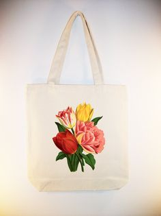 Bright Vintage Tulips flower illustration on 15x15 Canvas Tote -- larger zip top style tote and personalization available