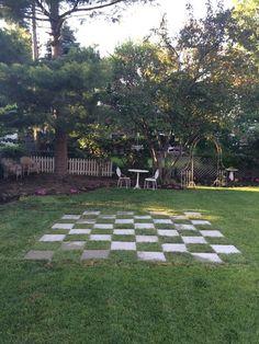Diy backyard gnomes vs rabbits chess board for the for Checkerboard garden designs