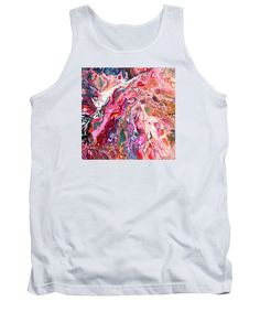Original Abstract Fluid Acrylic Art On Canvas Pink Dominates Tank Top featuring the painting #709 by Expressionistart studio Priscilla Batzell