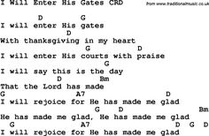 Christian Chlidrens Song I Will Enter His Gates CRD Lyrics & Chords