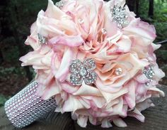 Peach with pink tip vintage brooch bling bouquet.