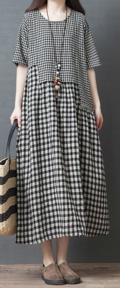 Chic black Plaid cotton dresses pockets patchwork loose summer Dress - Chic black Plaid cotton dresses pockets patchwork loose summer Dress Source by DressOriginal - Summer Dress Outfits, Summer Outfits Women, Casual Dresses, Wedding Dress With Pockets, Dress Pockets, Maxi Robes, Patchwork Dress, Casual Chic Style, Black Plaid