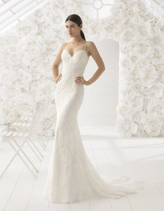 Rosa Clara- LISBOA Beautiful mermaid-style beaded wedding dress with low  sweetheart neckline and sheer lace back. Definitely a gown to dazzle in on  your big ... d8e14df36094