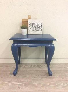 Side table chalk painted makeover from Superior Interiors Kelowna using Superior Paint Co. Sapphire Skies - Rich royal blue with Glossy Top Coat Sealer Chalk Paint Colors, White Chalk Paint, Side Table Makeover, Paint Companies, Color Of The Year, Rustic Farmhouse, Your Space, Entryway Tables, Sapphire