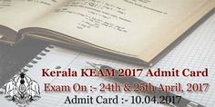 Kerala KEAM Admit Card 2017 Kerala Engineering Agriculture Medical Exam