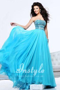 Strapless Chiffon A-Line Long Prom Dress with Jeweled Bodice