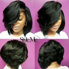 60 Showiest Bob Haircuts for Black Women- 60 Showiest Bob Haircuts for Black Women Voluminous Side-Parted Black Bob - Black Bob Hairstyles, Weave Hairstyles, Pretty Hairstyles, Girl Hairstyles, Bob Haircuts, Layered Bob Hairstyles For Black Women, Short Sew In Hairstyles, Fashion Hairstyles, Layered Hairstyles