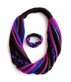 Unwanted T-shirts or Soft Hybrio Scarf-necklace Recycled Art