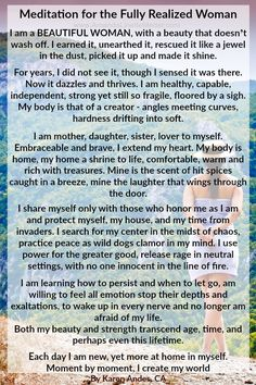 This is my favorite poem! Filled with affirmations for women, spiritual inspiration quotes and love. I made an image of it to share with ya'll - power quotes | love yourself | woman quotes