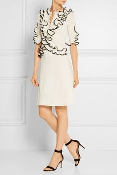 Alexander McQueen - Ruffled Wool Dress - Cream - xx small