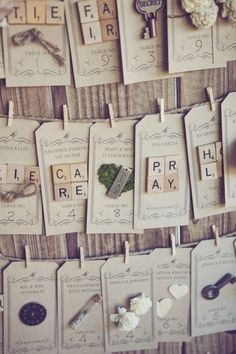 shabby chic escort cards / photographed by Closer to Love