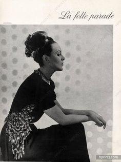 Schiaparelli (Couture) 1945 Black Dress embroidery