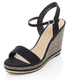Black Raffia Wedge Sandals