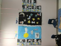 Theme: day and night Mural: collective painting of day and night sky. Tracing and cutting out stars. Colouring pages of daytime and night time activities
