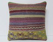 HANDWOVEN colorful cotton cushion cover handmade pillow cover hippie cushion bohemian pillow case purple pink yellow kilim pillow sham 19665