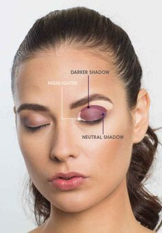 Make eyes look bigger - highlighting, neutral, and dark shadow