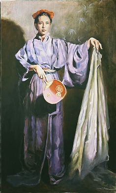 ☂ Paper Lanterns and Parasols ☂ Japonisme Art and Illustration - Ellen C. Portraits, Portrait Art, Classical Realism, California Art, Art Club, French Art, Painting Techniques, Chinoiserie, Japanese Art