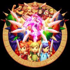 bellhenge: [The Legend of Zelda: Tri Force Heroes]— (Deviant Art, full size)— Four Swords