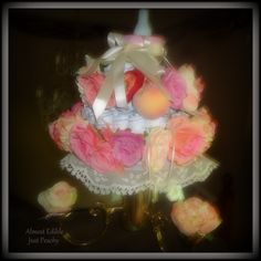Just Peachy diaper cake on stand