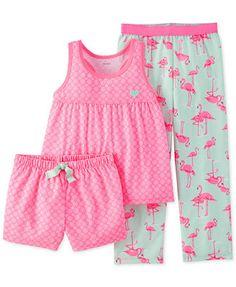 Carter's Little Girls' 3-Piece Floral Flamingo Pajamas