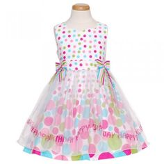 Bonnie Jean Pink Multi Color Dot Birthday Sheer Dress Girl