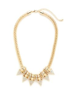 Gold & Crystal Triangle Necklace by Sparkling Sage at Gilt