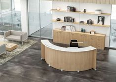 This exceptional reception desk features exquisite Italian Oak, Wenge, or White melamine finishes and compliments any office arrangement for an exceptional and well-designed workspace. Numerous sizes and configurations are available to best fit your space. Curved Reception Desk, Reception Desk Design, Office Reception, Bureau Design, Design Desk, Reception Furniture, Contemporary Desk, Office Furniture Design, Decoration