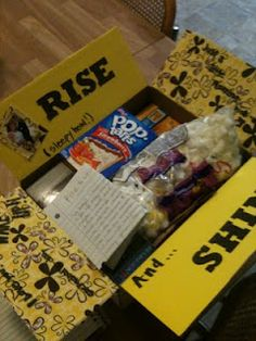 """""""Rise and Shine package-Fill with coffee, cereal bars, tooth paste toothbrush, and other breakfast morning items."""" Very fun idea for a creative care package! -- gonna need this, I ran out of breakfast foods"""