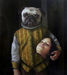 """Sin título """"Ni�o preso."""" - oleo/tela. 90cm x 80cm. 2012 - Artista: José Luis López Galván"""