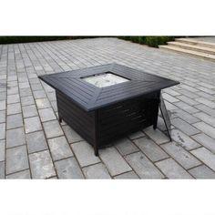Paramount Extruded Aluminum Square Propane Fire Table BTU 114 Cm In.