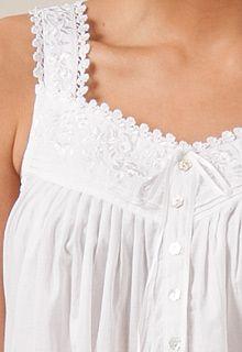 Eileen West White Sleepwear - Sleeveless Short White Cotton Nightgowns  c45677950