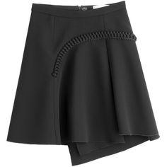 Carven Asymmetric Skirt ($200) ❤ liked on Polyvore featuring skirts, black, asymmetrical skirt, anchor skirt and carven skirt