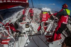 March 28, 2015. Leg 5 to Itajai onboard MAPFRE. Day 10. During a peeling the whole crew is smashed by a wave - Francisco Vignale / MAPFRE / Volvo Ocean Race