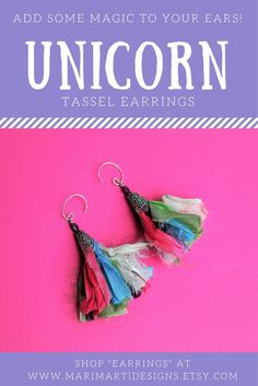"Don't worry!  No Unicorns were harmed in the production of these Unicorn Tail Tassel Earrings!  We hire elves to laboriously pick hairs out of the brushes they use to comb the Unicorn Tails.  (All kidding aside, a GREAT GIFT IDEA for UNICORN LOVERS and your friends!  Upcycled Sari Silk Fringe Grazes your neck for a delicate and festive look.  Shop ""earrings"" at www.marimartidesigns.etsy.com to see more!"