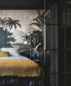 Ideas Home Wallpaper Bedroom Art Deco Bedroom, Home Decor Bedroom, Wall Paper Bedroom, Wall Murals Bedroom, Bedroom Ideas, Style At Home, Rue Verte, Tropical Bedrooms, Decor Scandinavian