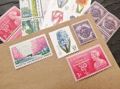 Color of Spring .. UNused Vintage Postage Stamps  .. post 5 letters - great source for vintage stamps
