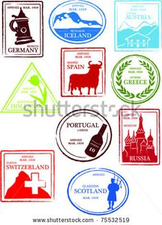 Retro European World Set of Fun Country Passport Stamps Vector Illustration - stock vector