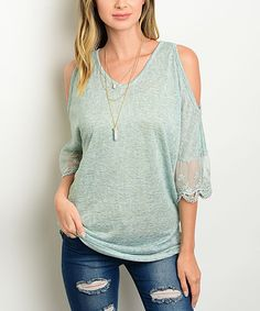 Look at this #zulilyfind! Sage Lace-Trim Cutout Top by Shop the Trends #zulilyfinds