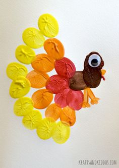 Thumprint Turkey Painting by Krafts and Kiddos