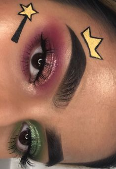 Looking for for ideas for your Halloween make-up? Check this out for cute Halloween makeup looks. Eye Makeup Art, Colorful Eye Makeup, Eyeshadow Makeup, Eyeliner, Disney Eye Makeup, Movie Makeup, Fairy Makeup, Makeup Artistry, Sfx Makeup
